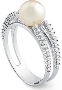 Anel Ouro Branco Pérola E Diamantes