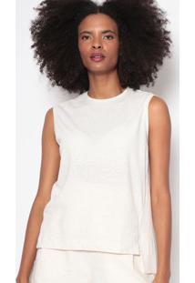 Blusa E-Fabrics Com Cã¢Nhamo-Bege Claroosklen