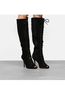Bota Couro Cano Longo Shoestock Aberta Lace Up Feminina - Feminino-Preto