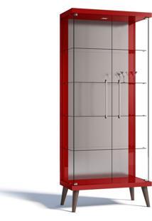 Cristaleira Imcal Tifanny 02 Portas De Vidro Vermelho Brilho