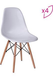 Jogo De Cadeiras Eames Dkr- Branco & Madeira- 4Pã§S