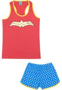 Pijama Lupo Urban Curto Feminino Mulher Maravilha Vermelho/Azul