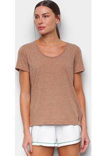Camiseta Colcci Basic Feminina - Feminino-Marrom+Branco
