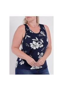 Blusa Estampada Rovitex Plus Size Feminina Azul Marinho