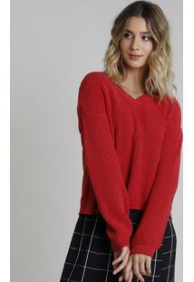 Suéter Feminino Em Tricô Chenille Decote V Vermelha