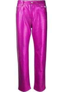 Msgm Calça Jeans Bootcut Metalizada - Rosa