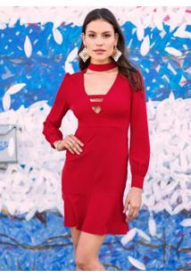 Vestido Com Decote Vazado Vermelho