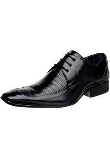 Sapato Social Bigioni Cadarço Couro Preto