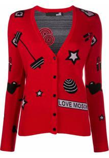 Love Moschino Cardigan De Jacquard - Vermelho