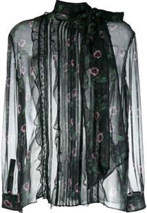 Valentino Blusa Translúcida Floral - Preto