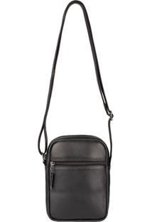 Bolsa Masculina Shoulder Bag De Couro Pietro - Café Preto