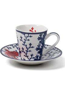 Xícara De Café Le Lis Blanc Casa Coral Estampado (Estampado Printing- Mare, Un)