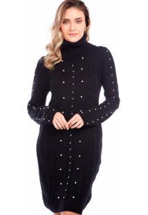 Vestido Para Noite Ralm Tricot Tranças Preto