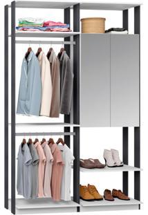 Guarda-Roupa Solteiro Modulado Clothes Com Espelho 2 Pt Branco E Espresso