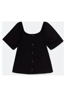 Blusa De Malha Canelada Com Botões E Decote Quadrado Curve E Plus Size Preto