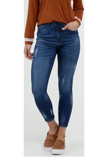 Calça Jeans Skinny Feminina Puídos Marisa
