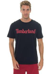 Camiseta Timberland Masculina Kennebec Rvr Linear Logo Tee - Masculino-Marinho+Vermelho