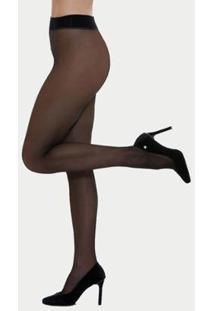 Meia Calça Clássica Fio 20 - Feminina - Feminino-Preto