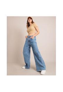 Calça Wide Jeans Com Rasgos Cintura Baixa Azul Médio