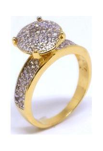 Anel Chuveiro Circular De Zirconia - Feminino-Dourado