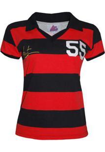 Camisa Liga Retrô Evaristo De Macedo 1955 Ex Jogador Flamengo E Madureira Feminino - Feminino