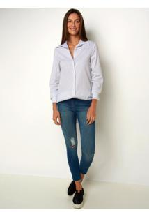 Camisa Le Lis Blanc Nana Punho Listrado Feminina (Listrado, 48)