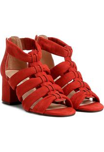 Sandália Couro Shoestock Salto Grosso Faixas Feminina - Feminino-Laranja Escuro
