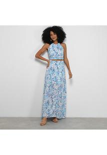 Vestido Road Mel Longo Floral Recorte Frontal - Feminino-Azul Claro