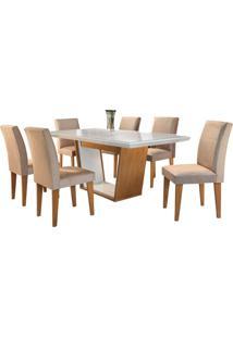 Sala De Jantar Sofia 1.80M Com 6 Cadeiras Imbuia/Off White Veludo Caramelo