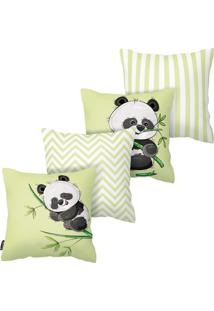 Kit Com 4 Capas Para Almofadas Infantis Panda Armonizzi - Tricae