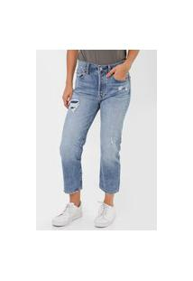 Calça Jeans Gap Boyfriend Destroyed Azul