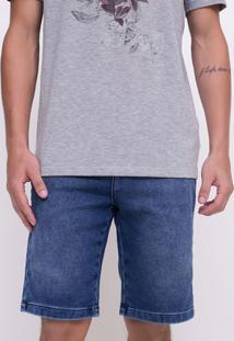 Bermuda Em Moletom Com Efeito Jeans