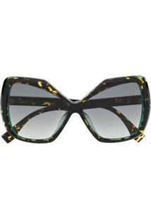 Fendi Eyewear Óculos De Sol Oversized Degradê - Marrom