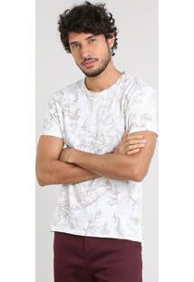 Camiseta Masculina Slim Fit Estampada De Folhagem Manga Curta Gola Careca Off White