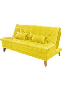Sofá Cama Reclinável 2 Lugares Sala De Estar Quarto 192Cm Lady Suede Amarelo - Gran Belo - Tricae