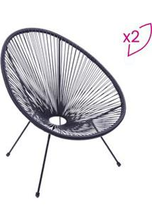 Or Design Jogo De Cadeiras Acapulco Preto 2Pã§S