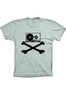 Camiseta Lu Geek Manga Curta Fita Caveira Prata