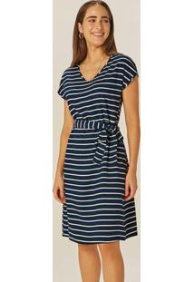 Vestido Azul Marinho Curto Listrado