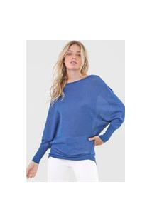 Blusa Carmim Tricot Brilho Azul