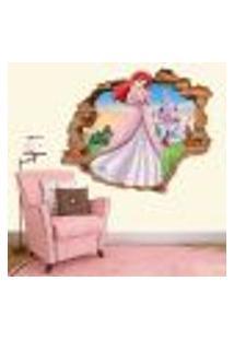 Adesivo De Parede Buraco Falso 3D Princesa Ariel 03 - Eg 100X122Cm