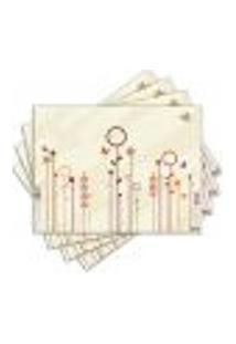 Jogo Americano - Flores Abstratas Com 4 Peças - 044Jo