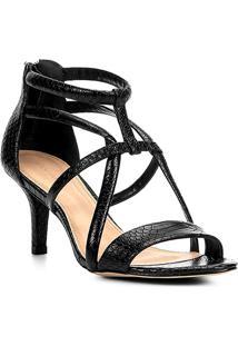 Sandália Couro Shoestock Salto Fino Tiras Cobras Feminina - Feminino-Preto