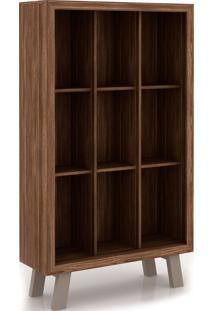 Armário Biblioteca Me4121 Tecno Mobili Nogal E Bege Videira