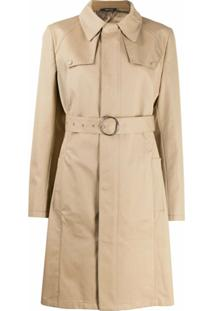 Maison Margiela Trench Coat Com Abotoamento Frontal - Marrom