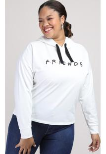 Blusão De Moletom Feminino Plus Size Friends Com Capuz Off White