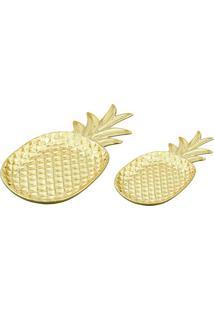 Jogo De Pratos Abacaxi- Dourado- 2Pçs- Martmart