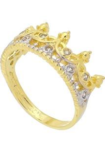 Anel Coroa Com Detalhes Em Ródio E Zircônias 3Rs Semijoias Dourado - Kanui