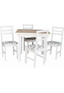 Jogo De Mesa 4 Cadeiras Branca Com Tampo Amadeirado E Assento Floral 2º Linha Móveis Tradição