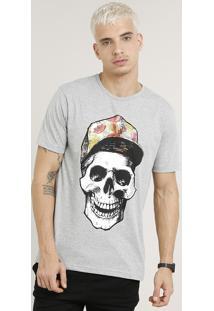 Camiseta Masculina Caveira Manga Curta Gola Careca Cinza Mescla