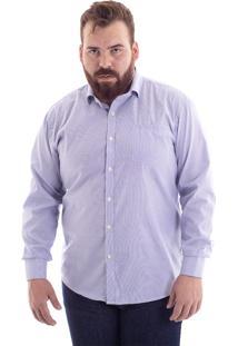 Camisa Comfort Plus Size Listrado Azul 1485-32 - G4